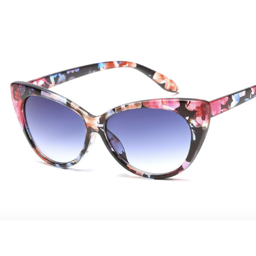"""Gina""  Catseye Sunglasses - Floral - Plus Size Pin Up - Sour Cherry Designs - Plus Sized Pin Up 