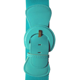"""Patent"" Stretch Belt - Plus Size - Aqua - Sour Cherry Designs - Plus Sized Pin Up 