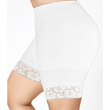 'Bike' Pants Lace Trim - White - Sour Cherry Designs - Plus Sized Pin Up - Plus Size Pin Up