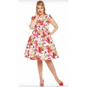 'Vanessa' Floral 50's Cap Sleeve Dress - Sour Cherry Designs - Plus Sized Pin Up | 'Vanessa' Floral 50's Cap Sleeve Dress