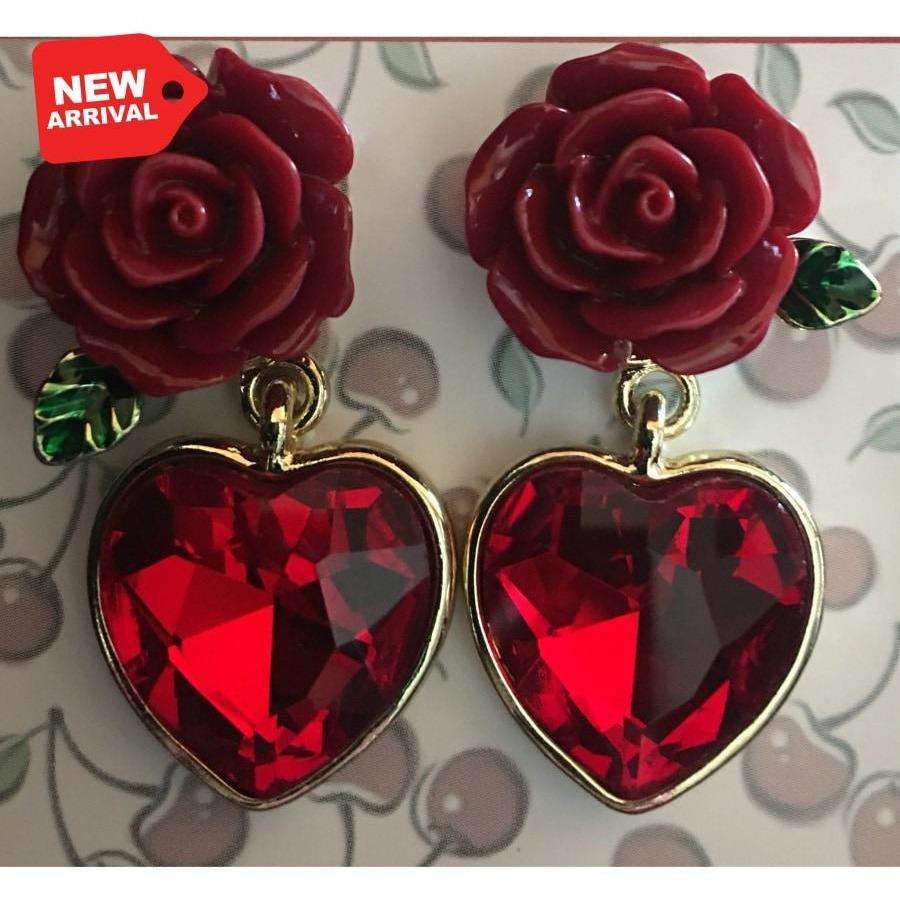 Earring - Ruby Red Rose - Plus Size Pin Up - Sour Cherry Designs - Plus Sized Pin Up - Plus Size Pin Up  | Earring - Ruby Red Rose - Plus Size Pin Up