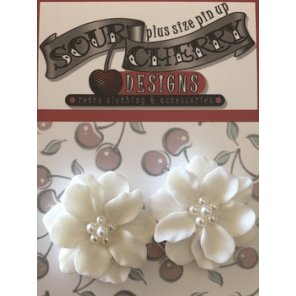 Earrings - Flower with Faux Pearl Centre - Plus Size Pin Up - Various Colours - Sour Cherry Designs - Plus Sized Pin Up - Plus Size Pin Up  | Earrings - Flower with Faux Pearl Centre - Plus Size Pin Up - Various Colours