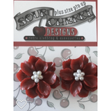 Earrings - Flower with Faux Pearl Centre - Plus Size Pin Up - Various Colours - Sour Cherry Designs - Plus Sized Pin Up - Plus Size Pin Up