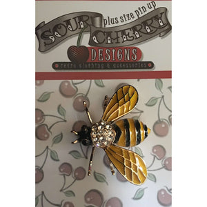 Enamel Brooch / Pin - Bee - Plus Size Pin Up - Sour Cherry Designs - Plus Sized Pin Up - Plus Size Pin Up  | Enamel Brooch / Pin - Bee - Plus Size Pin Up