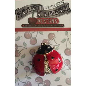 Sour Cherry Designs, Plus Size Pin Up, Plus Size Ladies Clothes, Retro Clothing, Retro Dress | Enamel Brooch / Pin - Ladybird - Plus Size Pin Up