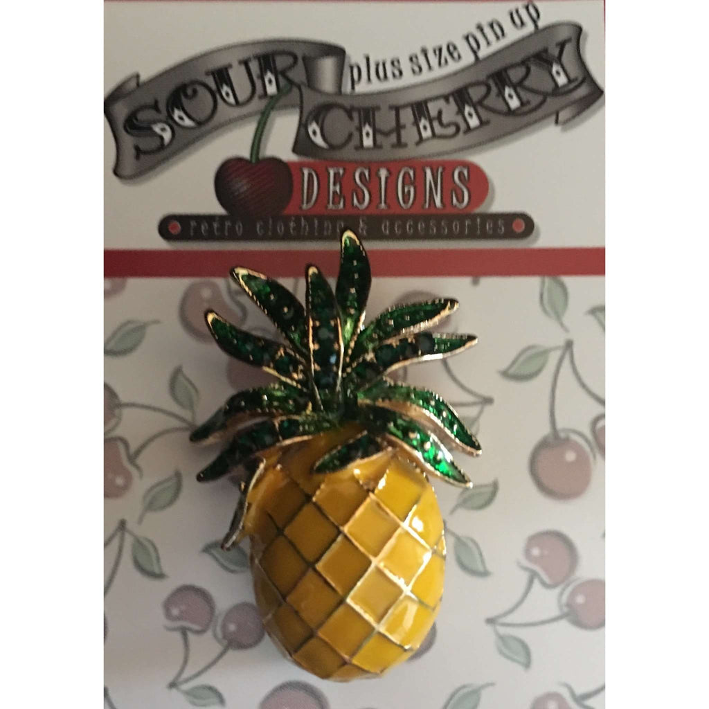 Enamel Brooch / Pin - Pineapple - Plus Size Pin Up - Sour Cherry Designs - Plus Sized Pin Up - Plus Size Pin Up  | Enamel Brooch / Pin - Pineapple - Plus Size Pin Up