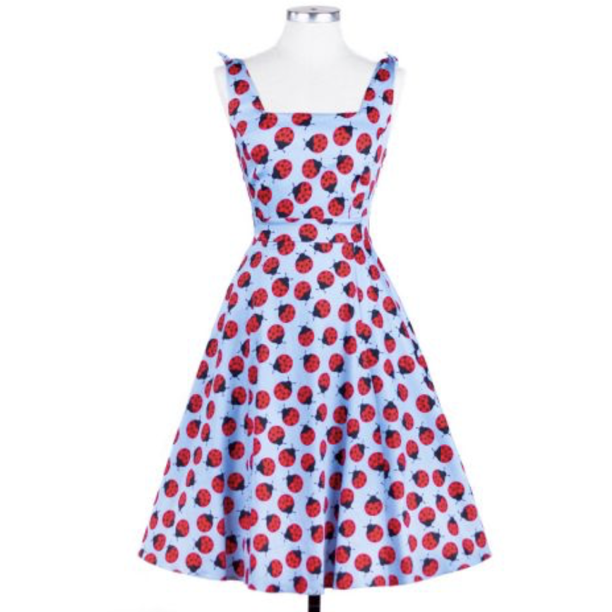 Sour Cherry Designs, Plus Size Pin Up, Plus Size Ladies Clothes, Retro Clothing, Retro Dress | Esther Ladybug  Dress -  Lady V