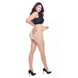 Jive seamed  Curvy Super Stretch Tights - Pamela Mann - Nude/Nude - Sour Cherry Designs - Plus Sized Pin Up - Plus Size Pin Up