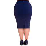 Joni Pencil Skirt - Hell Bunny - Blue - Sour Cherry Designs - Plus Sized Pin Up - Plus Size Pin Up