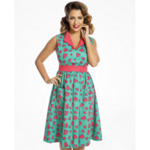 Joy -  Watermelon Print Swing Dress - Lindy Bop - Sour Cherry Designs - Plus Sized Pin Up - Plus Size Pin Up  | Joy -  Watermelon Print Swing Dress - Lindy Bop