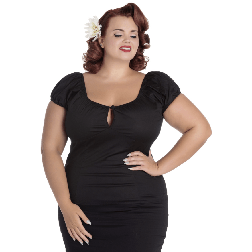 Melissa Top- Black - Hell Bunny - Sour Cherry Designs - Plus Sized Pin Up - Plus Size Pin Up  | Melissa Top- Black - Hell Bunny