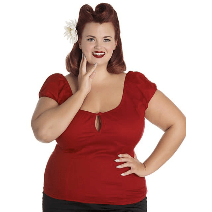 Melissa Top- Dark Red - Hell Bunny - Sour Cherry Designs - Plus Sized Pin Up | Melissa Top- Dark Red - Hell Bunny