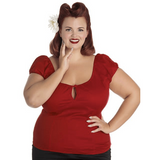 Melissa Top- Dark Red - Hell Bunny - Sour Cherry Designs - Plus Sized Pin Up