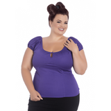 Melissa Top- Purple - Hell Bunny - Sour Cherry Designs - Plus Sized Pin Up