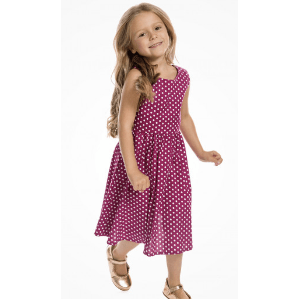 Sour Cherry Designs, Plus Size Pin Up, Plus Size Ladies Clothes, Retro Clothing, Retro Dress | Mini Audrey - Childrens Cerise Polkadot Swing Dress - Lindy Bop