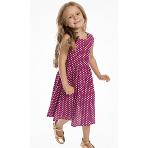 Mini Audrey - Childrens Cerise Polkadot Swing Dress - Lindy Bop - Sour Cherry Designs - Plus Sized Pin Up - Plus Size Pin Up  | Mini Audrey - Childrens Cerise Polkadot Swing Dress - Lindy Bop