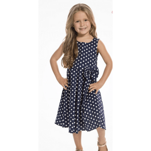 Mini Grace - Childrens Navy Polkadot Swing Dress - Lindy Bop - Sour Cherry Designs - Plus Sized Pin Up - Plus Size Pin Up  | Mini Grace - Childrens Navy Polkadot Swing Dress - Lindy Bop