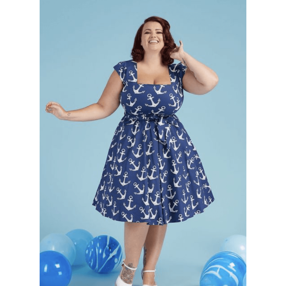 Nautical Swing Dress -  Lady V - Sour Cherry Designs - Plus Sized Pin Up - Plus Size Pin Up  | Nautical Swing Dress -  Lady V