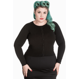 Paloma Long Sleeved Cardigan Black - Hell Bunny - Sour Cherry Designs - Plus Sized Pin Up
