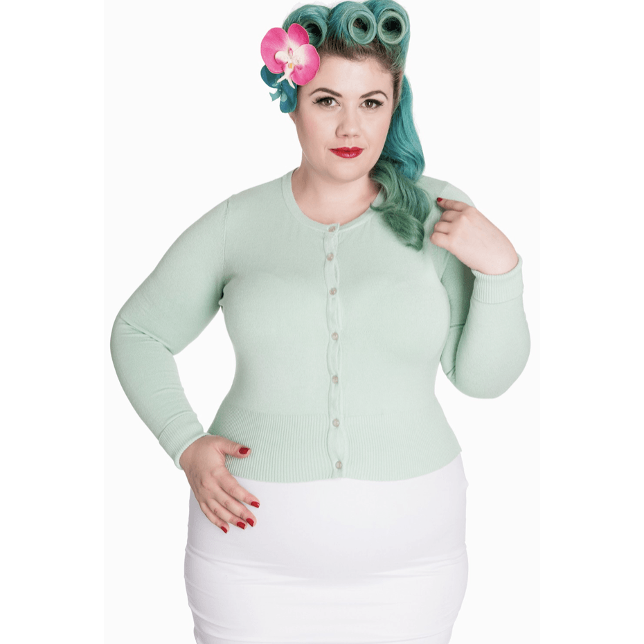 Sour Cherry Designs, Plus Size Pin Up, Plus Size Ladies Clothes, Retro Clothing, Retro Dress | Paloma Long Sleeved Cardigan Mint- Hell Bunny