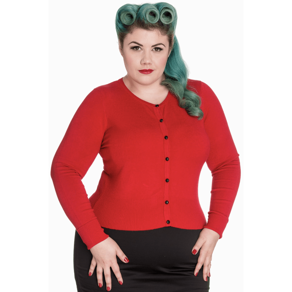 Paloma Long Sleeved Cardigan Red - Hell Bunny - Sour Cherry Designs - Plus Sized Pin Up - Plus Size Pin Up  | Paloma Long Sleeved Cardigan Red - Hell Bunny
