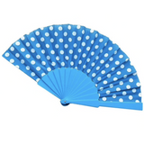 Polkadot Fabric Hand Fan - Plus Size Pin Up - Sour Cherry Designs - Plus Sized Pin Up