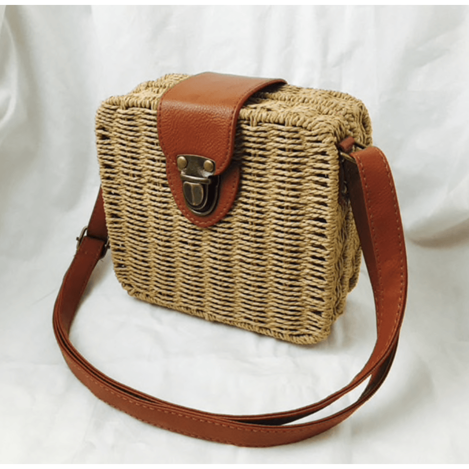 Rattan Woven  Handbag- Natural - Plus Size Pin Up - Sour Cherry Designs - Plus Sized Pin Up | Rattan Woven  Handbag- Natural - Plus Size Pin Up