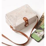 Rattan Woven  Handbag- White/Tan Leather - Plus Size Pin Up - Sour Cherry Designs - Plus Sized Pin Up - Plus Size Pin Up