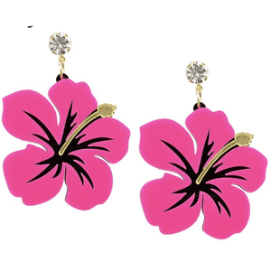 Statement Earrings - Hibiscus Heaven - Plus Size Pin Up - Sour Cherry Designs - Plus Sized Pin Up - Plus Size Pin Up  | Statement Earrings - Hibiscus Heaven - Plus Size Pin Up