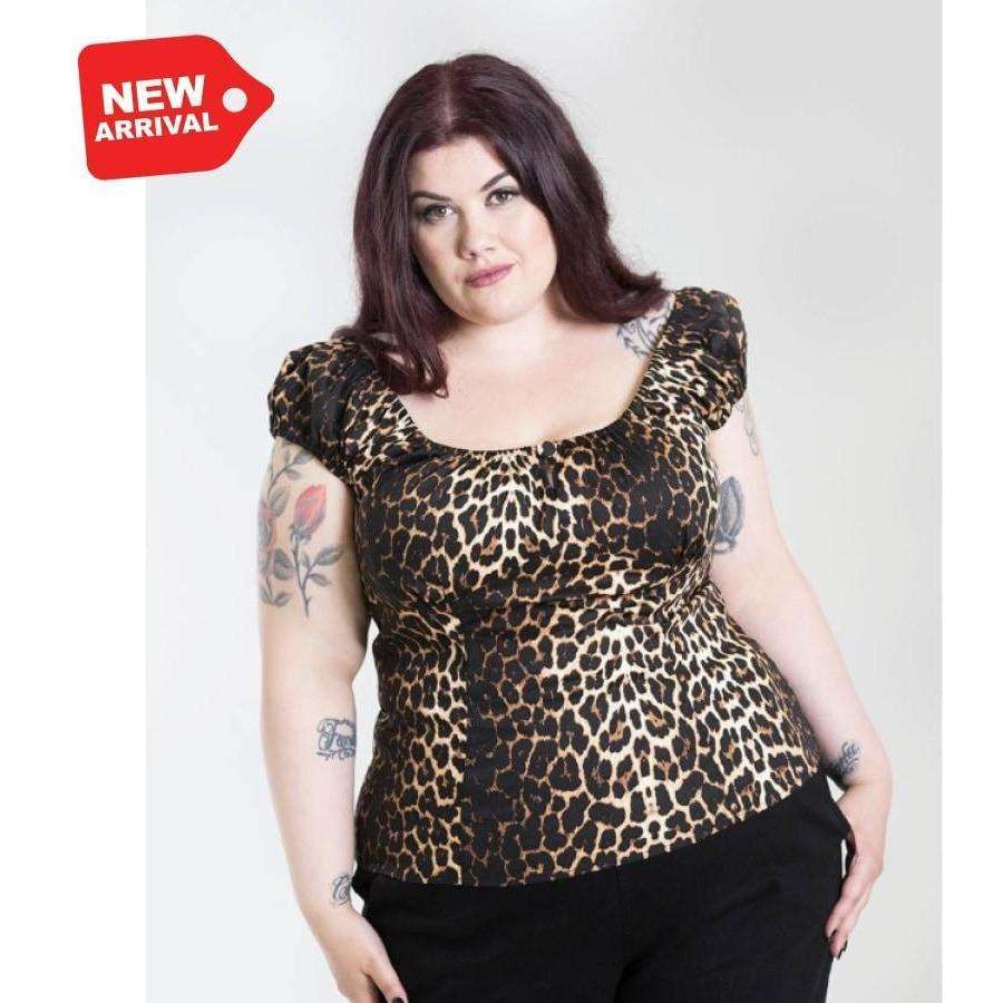 Uma Leopard Print Top - Hell Bunny- Plus Size - Sour Cherry Designs - Plus Sized Pin Up - Plus Size Pin Up  | Uma Leopard Print Top - Hell Bunny- Plus Size