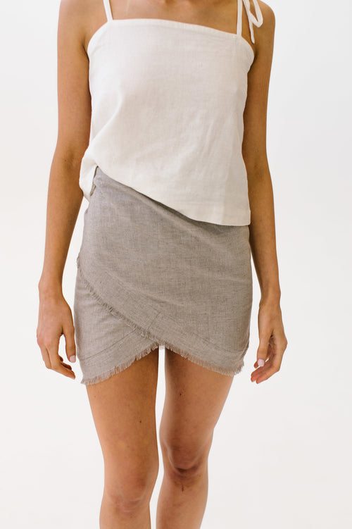 Linen Wrap Skirt Natural