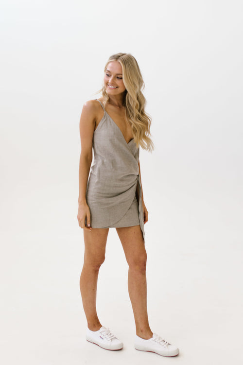 Linen Wrap Dress Natural