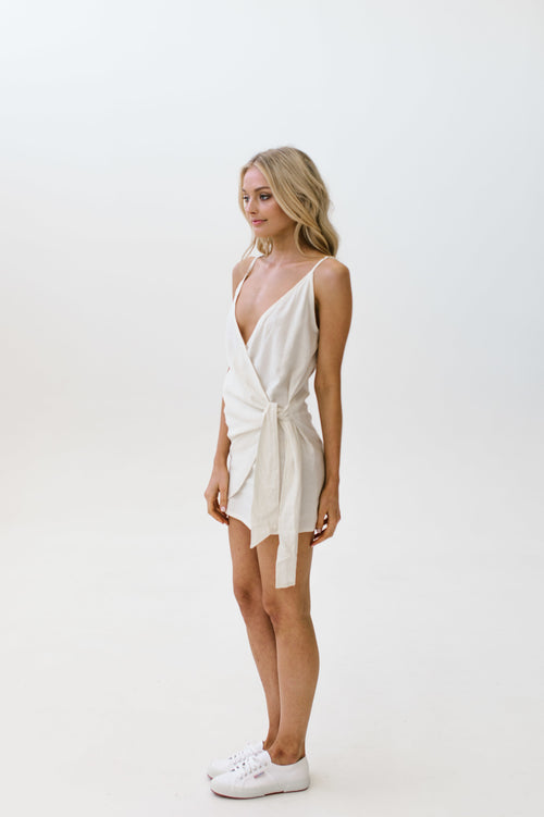 Linen Wrap Dress White