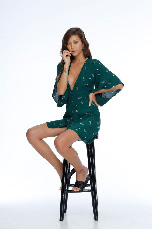 Sebastian Dress - Green Paisley