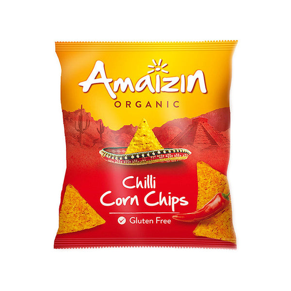 a pack of chilli corn snacks which are organic and gluten free