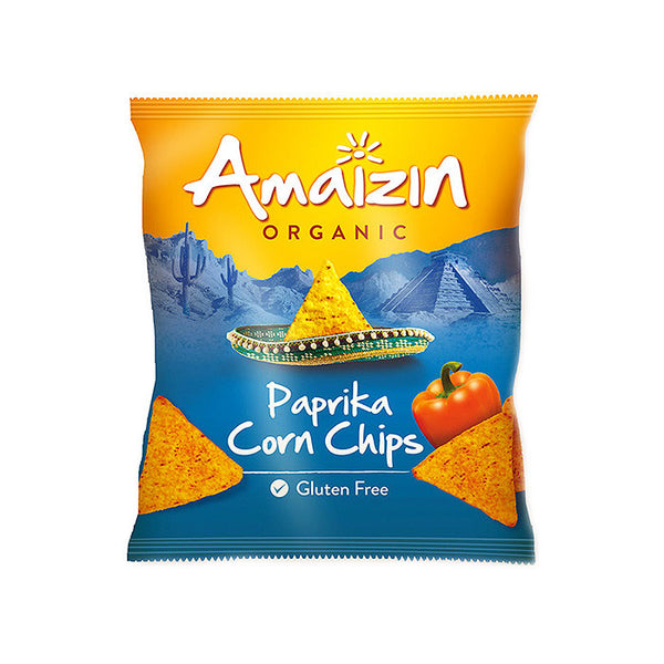 amaizin organic paprika flavoured corn chips which are gluten free