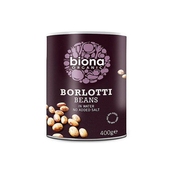 a can of biona borlotti beans in water with no added salt