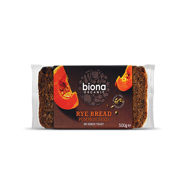 a loaf of biona organic rye bread with pumpkin seeds and no added yeast