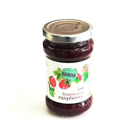 raspberry flavoured jam in a glass jar 340 grams by bionova