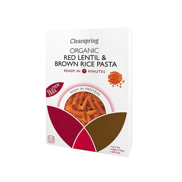 organic red lentil and brown rice pasta by clearspring ready in 7 minutes