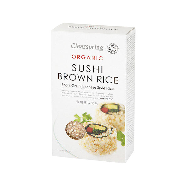 brown sushi rice which is organic and by clearspring