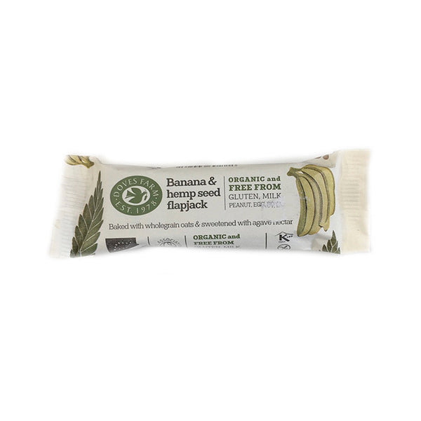 doves farm banana and hemp seed flapjack