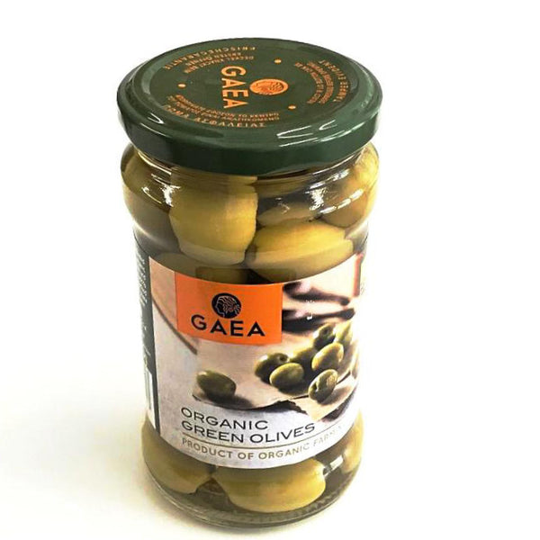 organic green olives by GAEA and sold at shorebeing natural foods in worthing