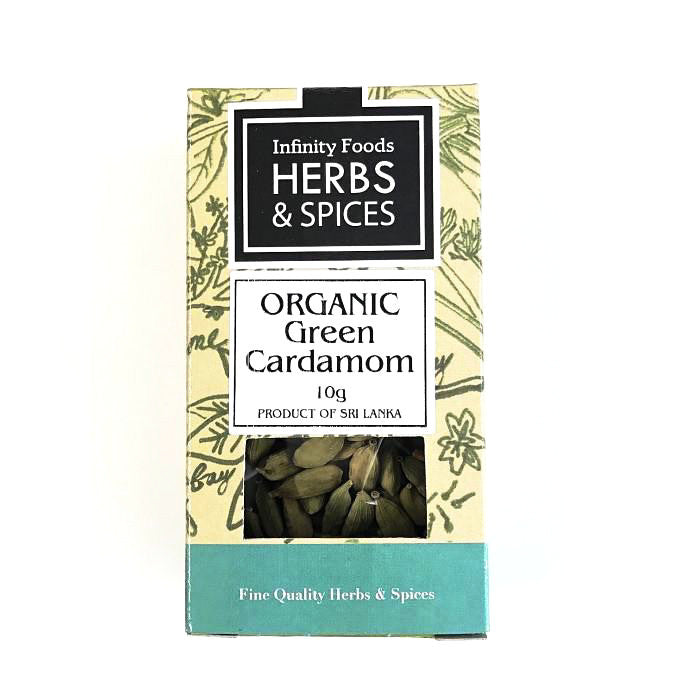 green cardamom whole which are organic and by infinity foods and sold at shorebeing natural foods worthing