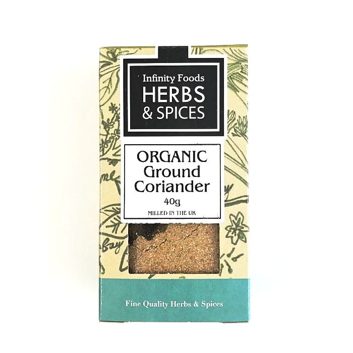 organic ground coriander sold at shorebeing natural foods in worthing