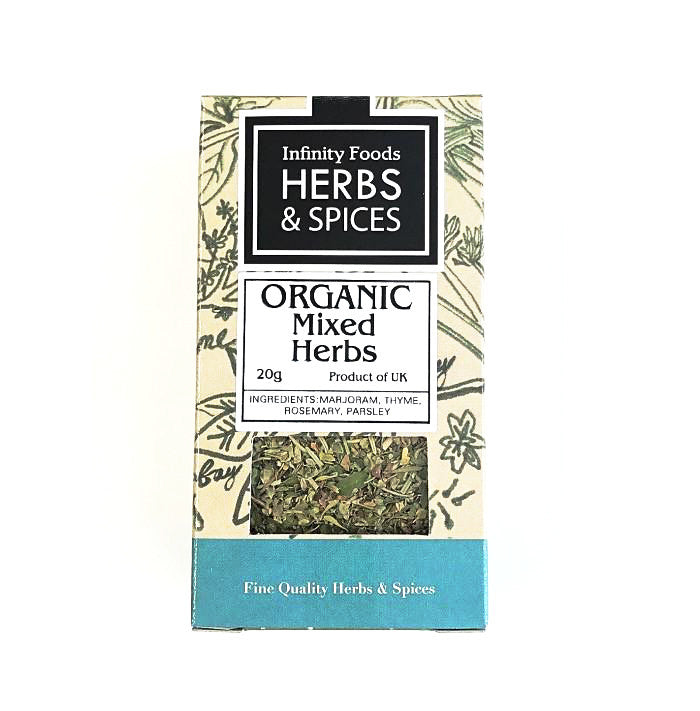 mixed herbs containing marjoram, thyme, rosemary and parsley which are organic and by infinity foods