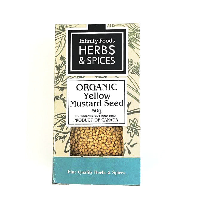 organic yellow mustard seeds in a box of 30g infinity foods