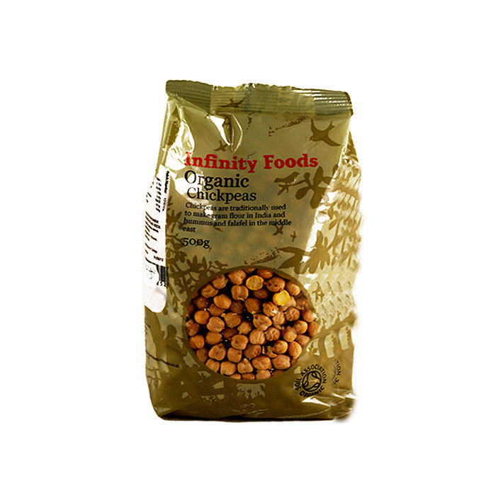 infinity foods organic chick peas in a 500g bag