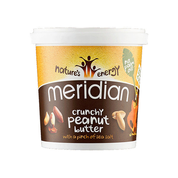 crunchy peanut butter in a tub by meridian with a pinch of sea salt