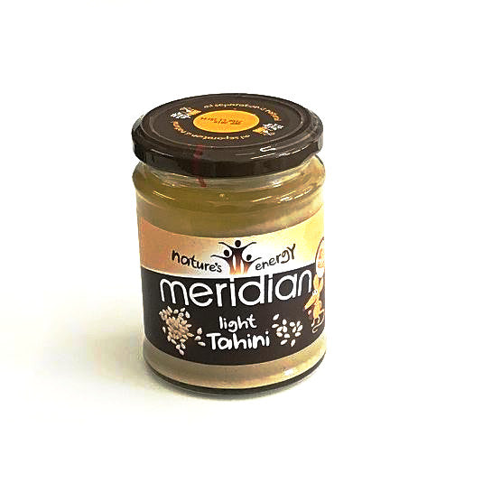 meridian foods light tahini in a glass jar of 270 grams